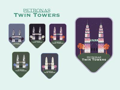 Petronas Twin Towers, Kuala Lumpur, Malaysia poster iconic building iconic icon icons illustration design illustration illustrations design vector adobe illustrator concept art graphic design editorial design photoshop petronastwintowers