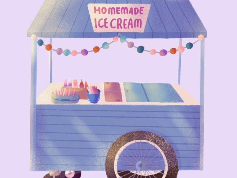 Ice Cream Food Stall visual art editorial design graphic design texture brush texture adobe photoshop concept art branding children book book cover icon illustration art direction editorial poster procreate app procreate digital art illustration