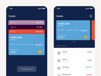 Finance app exploration (Cards) ux mobile app mobile app design ui
