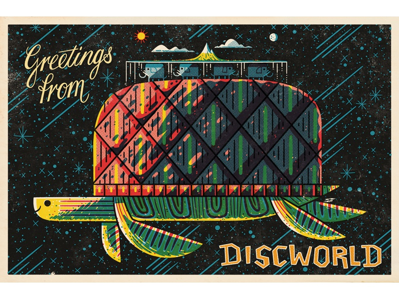 Discworld Post Card andrew kolb kolbisneat illustration terry pratchett discworld postcards from space iam8bit