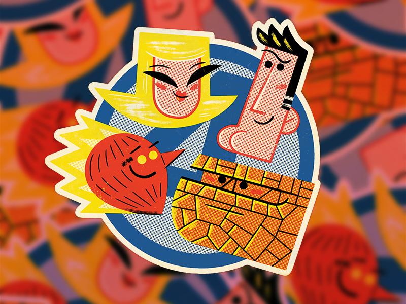 Fantastic Four Sticker andrew kolb kolbisneat illustration fantastic four marvel sticker slaptastick