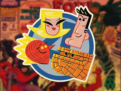 Fantastic Four Sticker (again) andrew kolb kolbisneat illustration fantastic four marvel sticker slaptastick