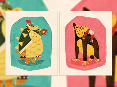 Papa & Jr. Duo andrew kolb kolbisneat illustration donkey kong bowser fathers day love nintendo iam8bit