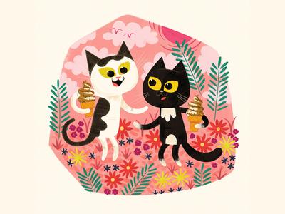 Summer Cats andrew kolb kolbisneat illustration james boorman commission
