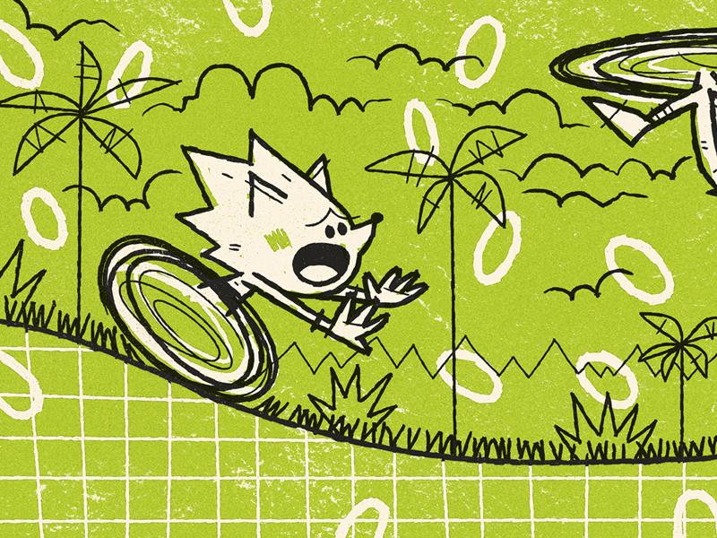 Sonic andrew kolb kolbisneat illustration limited palette sega sonic mania knuckles tails sonic