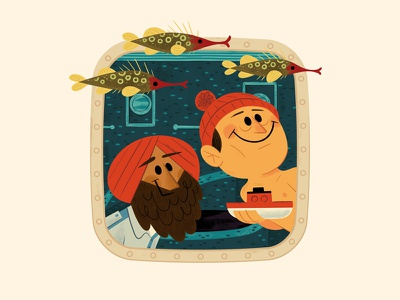 Views from the Belafonte - 1 andrew kolb kolbisneat illustration kids book picture book the life aquatic steve zissou wes anderson