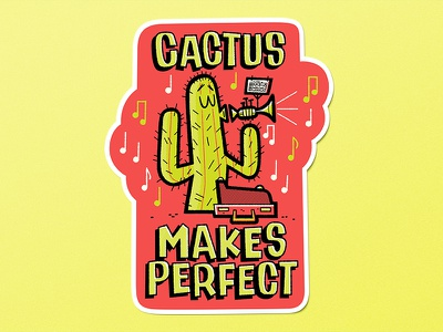 Cactus Makes Perfect Sticker andrew kolb kolbisneat illustration limited colour limited palette sticker practice makes perfect cactus