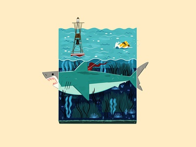 Tiny Amity Beach andrew kolb kolbisneat illustration miniature steven spielberg jaws