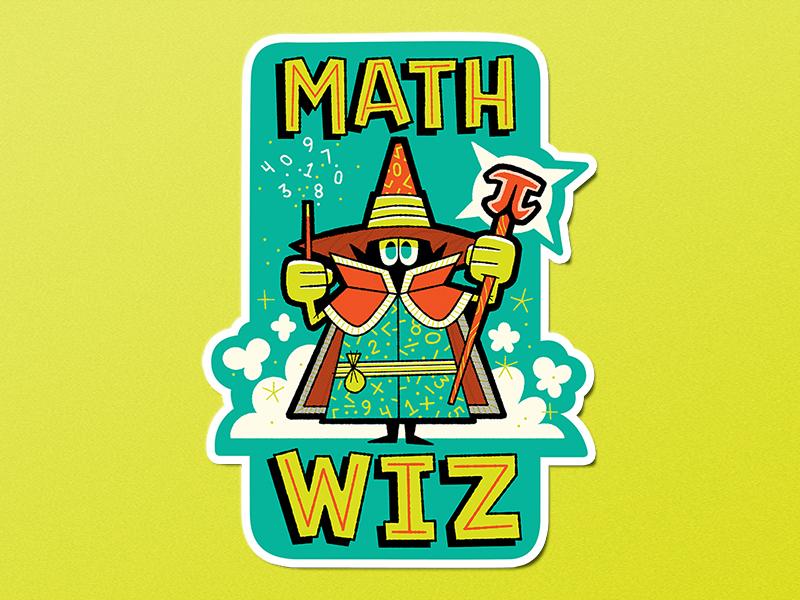 Math Wiz andrew kolb kolbisneat illustration wizard math science sticker