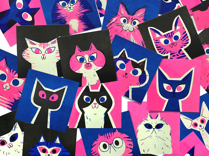 Risograph Cats! andrew kolb kolbisneat illustration limited palette cats risograph
