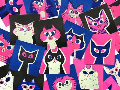Risograph Cats! andrew kolb kolbisneat illustration limited palette cats risograph