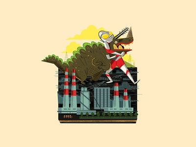 Teeny Tiny Power Plant andrew kolb kolbisneat illustration diorama miniature monster kaiju ultraman