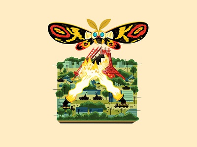 Teeny Tiny Moth Attack andrew kolb kolbisneat illustration diorama monster kaiju godzilla toho mothra