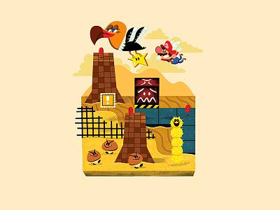 Teeny Tiny Desert andrew kolb kolbisneat illustration teeny tiny shifting sand land super mario 64 nintendo mario