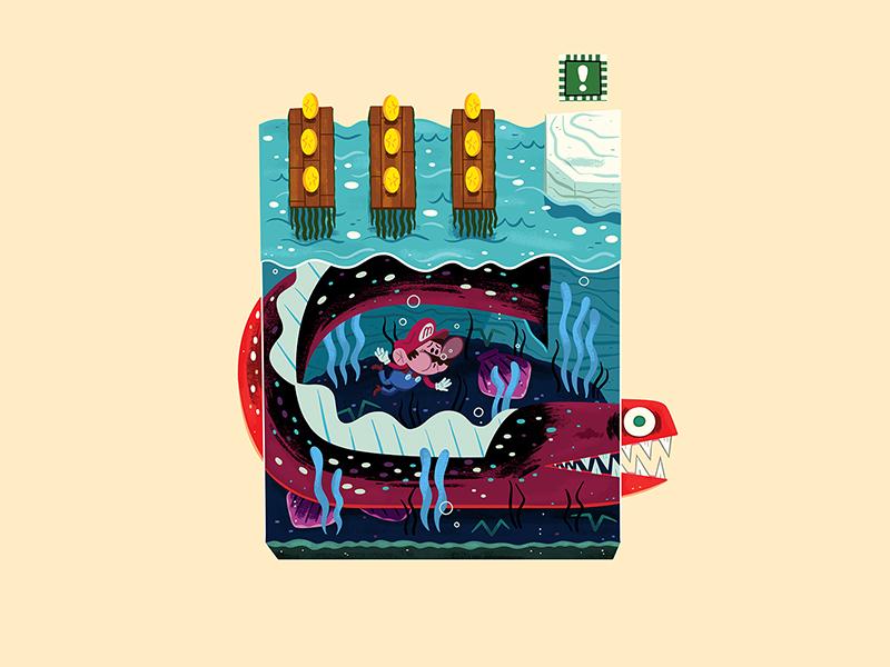 Teeny Tiny Bay andrew kolb kolbisneat illustration diorama teeny tiny nightmare fuel jolly roger bay nintendo 64 mario super mario 64