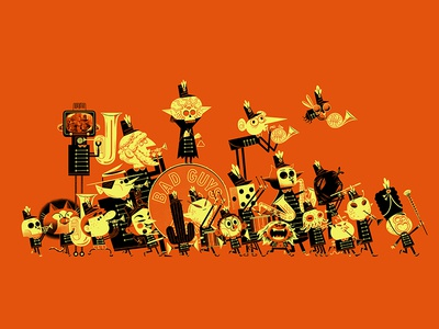 The Bad Guys Band so far! marching band creatures aliens skeletons monsters andrew kolb kolbisneat illustration limited palette halloween drawing challenge bad guys band