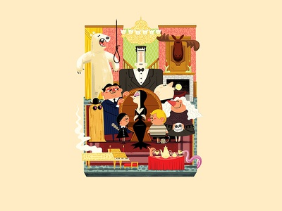 Teeny Tiny Family Room (Technicolor) andrew kolb kolbisneat illustration cousin it lurch wednesday addams uncle fester morticia gomez diorama teeny tiny technicolor addams family the addams family