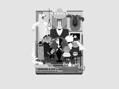 Teeny Tiny Family Room (original) andrew kolb kolbisneat illustration diorama teeny tiny cousin it pugsley wednesday addams uncle fester morticia gomez the addams family addams family