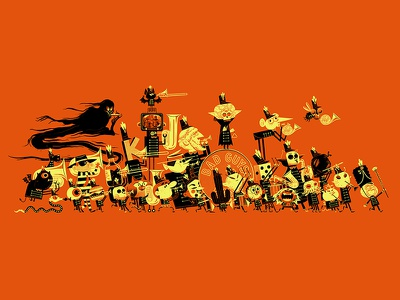 The Complete Bad Guys Band andrew kolb kolbisneat illustration skeleton limited palette limited color children kids monster ghost alien band marching band bad guys band bad guys club