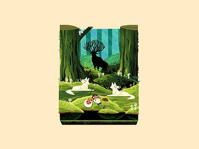 Teeny Tiny Grove andrew kolb kolbisneat illustration diorama teeny tiny hayao miyazaki studio ghibli princess mononoke