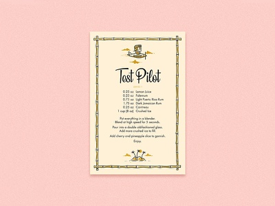 Test Pilot Recipe Card typography andrew kolb kolbisneat illustration recipe test pilot bartending cocktail tiki mug tiki