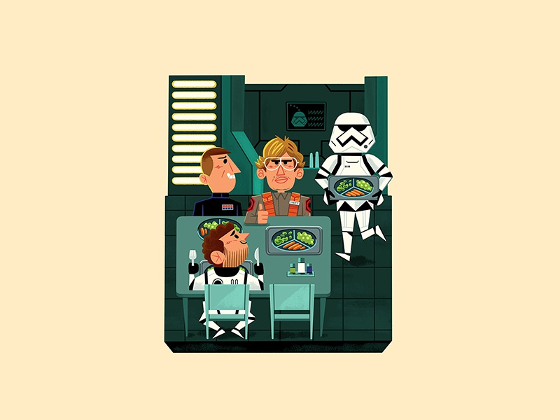 Teeny Tiny Break Room andrew kolb kolbisneat illustration diorama teeny tiny starkiller base undercover boss saturday night live snl matt the radar technician kylo ren star wars