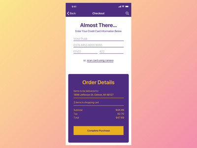 Daily UI 002 Check Out Screen