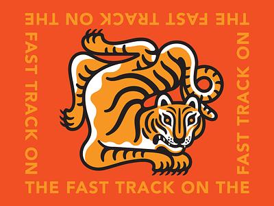 On the Fast Track tiger mascot tiger vector logo design branding print apparel illustration