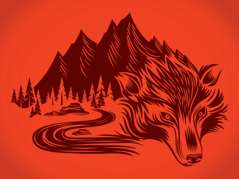 Wolf Mountain apparel mountain wolf illustration