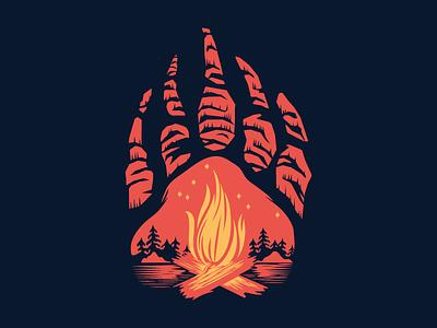 Stayin' Warm fire camping illustration