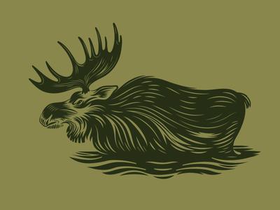 Moose Xing apparel print moose. illustration