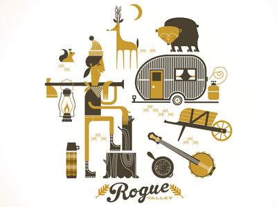 Rogue Valley  lumberjill deer bear trailer illustration print