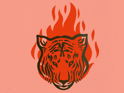 Tigris print fire flash tiger illustration