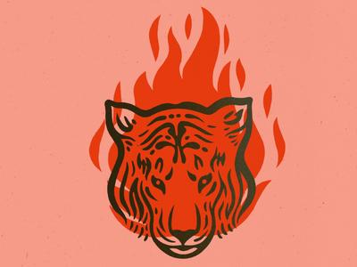 Tigris print fire flash tiger illustration