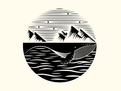 Whale Watch mountain whale vector logo print alaska illustration