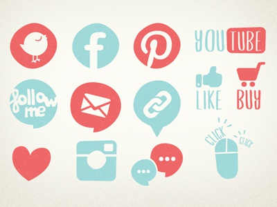 SEO icons  web info graphics social blog stats like follow vintage handdraw
