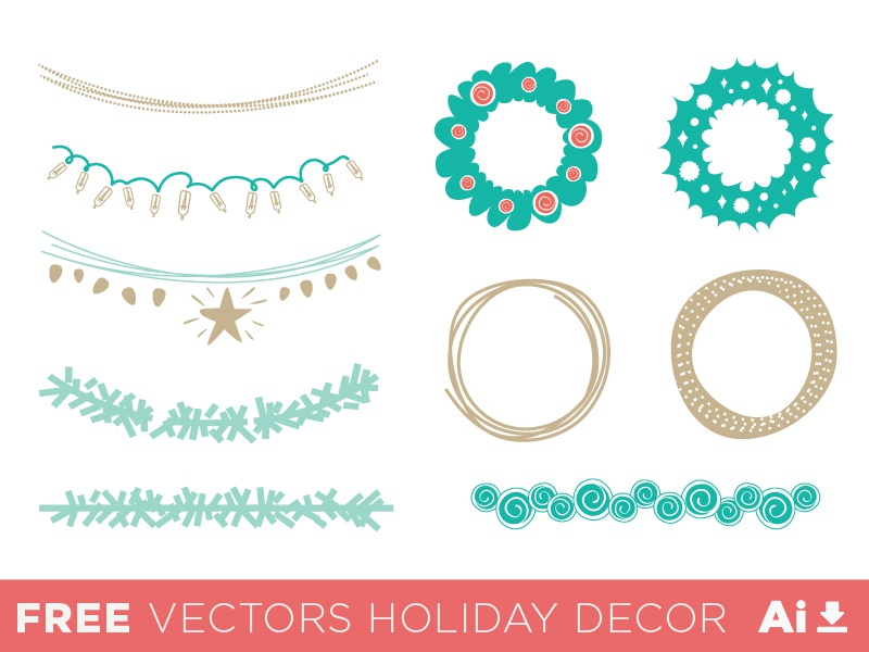 Holidays Vectors Decor xmas christmas garland light gold green vintage retro resources free greeting celebration