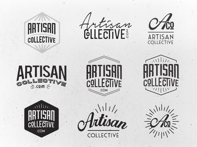 Artisan Collective  logo vintage retro grunge black white type typography