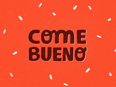 ComeBueno logo food eat red brown grunge typo hand logo branding retro vintage lettering