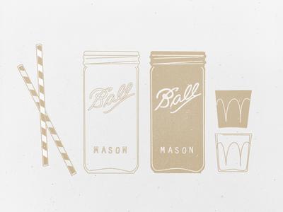 Drinks! mason ball cup glass shot straw summer vintage midcentury mid century illustration