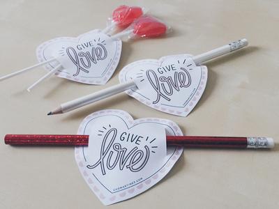 Free - Printable Heart valentine heart love gift free print paper diy school kids pencil download