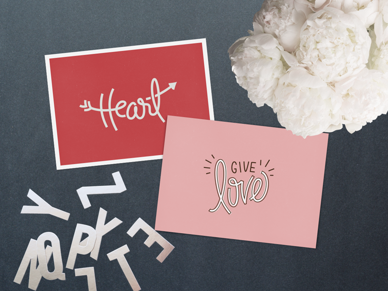 Two Love Cards love paper goods valentines heart mine pink red print printable free greeting