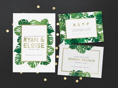 Tropical Invitation Cards postal greeting card template rsvp shower brunch wedding invitation palms summer tropical