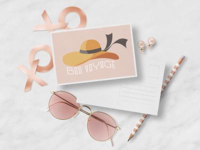 Bon Voyage Postcard Mockup illustration lettering travel heart valentines valentine love pencil sunglasses gold rose rose gold