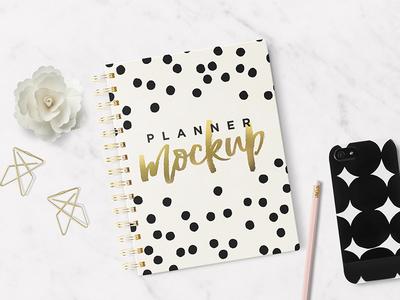 Planner / Agenda Mockup blog organizer illustration font typo lettering calligraphy sketch sketchbook mockup agenda planner