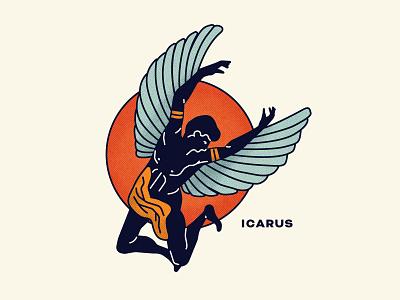 Icarus sun mythology wings icarus music texture illustration