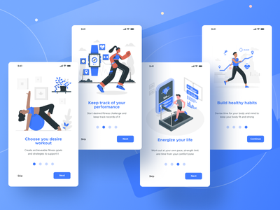 Onboarding screen for a mobile Fitness App minimal app ui illustration design