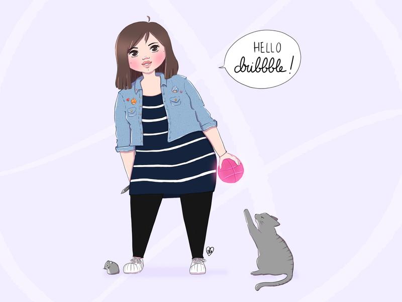 Hello dribbble! selfportrait hellodribbble debut illustration