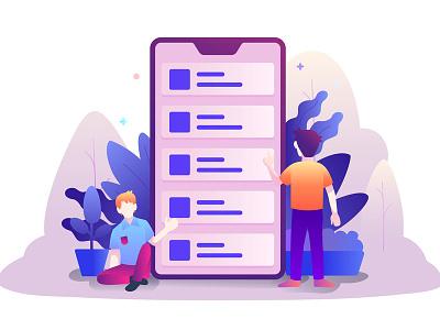 Mobile Phone Choosing Category Illustration vector choose catecory style flat modern illustration phone smartphone