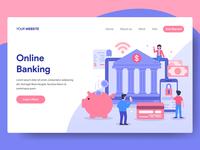 Online Banking Illustration for Web Landing Page